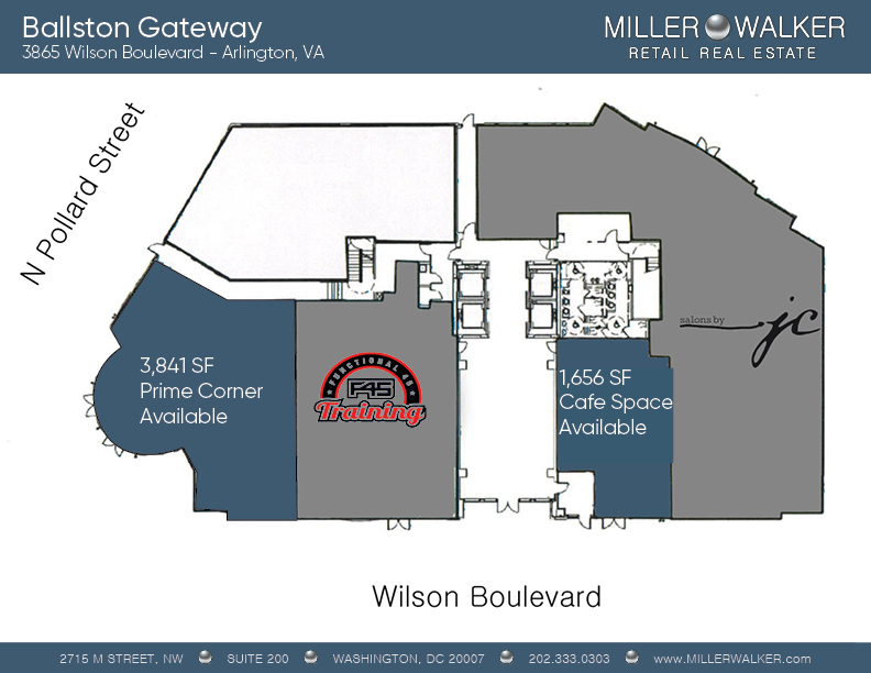 3865 Wilson Boulevard floorplans for retail space for lease