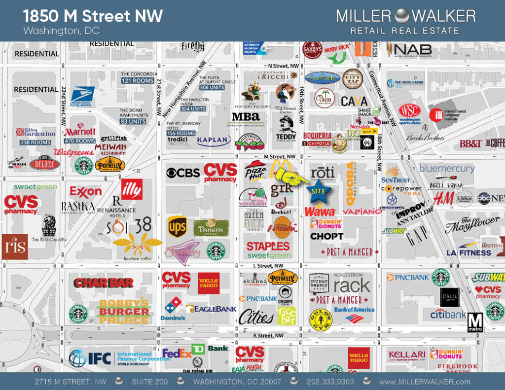Retail Space for Lease DC - Former Au Bon Pain Property 1850 M Street Washington DC Retail Map
