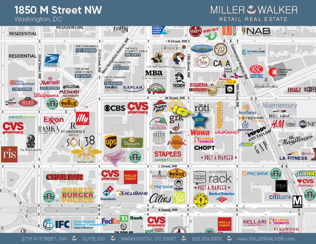 Retail Space for Lease DC - Former Au Bon Pain Property 1850 M Street Washington DC Retail Map