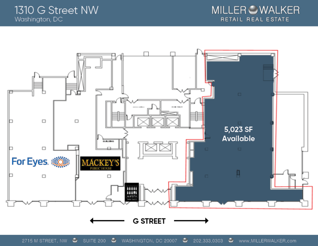 Retail Space for Lease DC -near 1310 g street nw east end