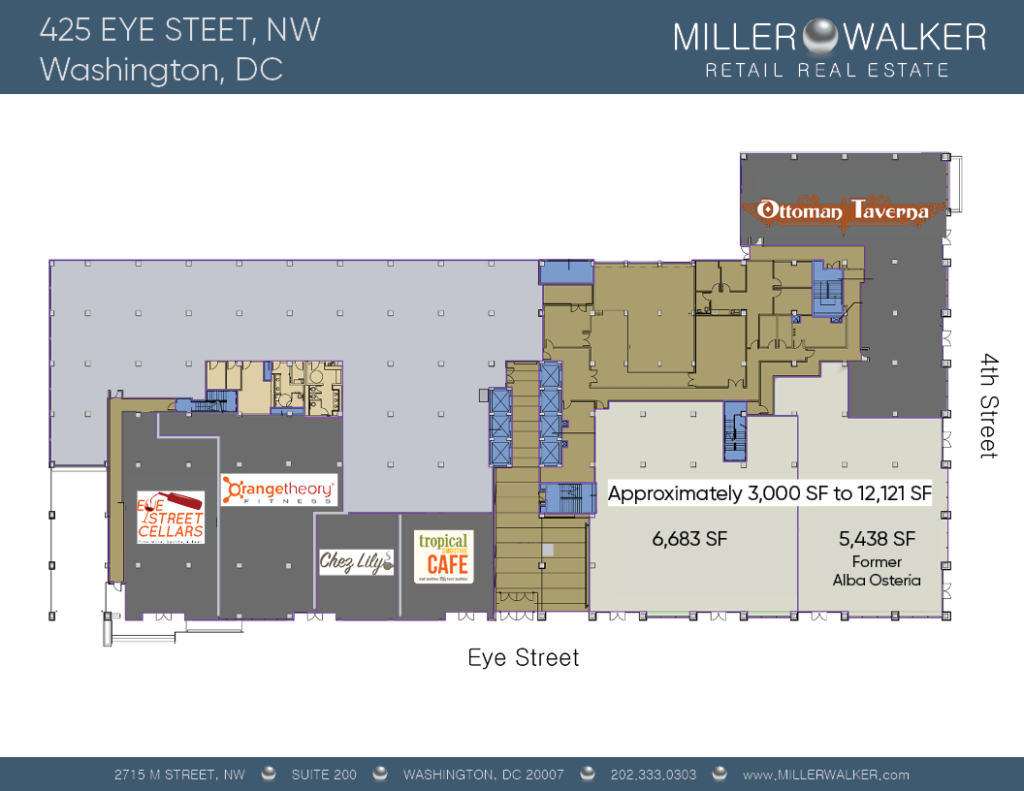 425 eye street floor plan for restaurant space available for lease in mount vernon triangle dc