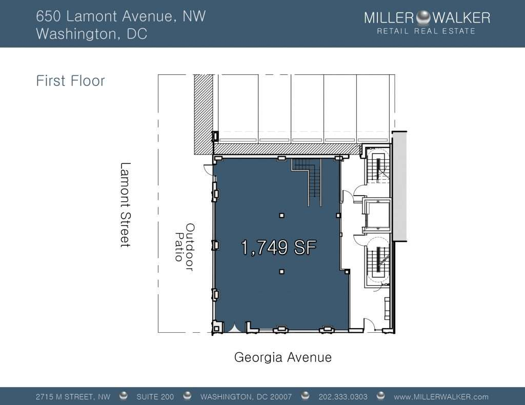 Retail Space for Lease DC - 650 Lamont Street, NE - Petworth DC restaurant space for lease Restaurant brokers dc floor plan