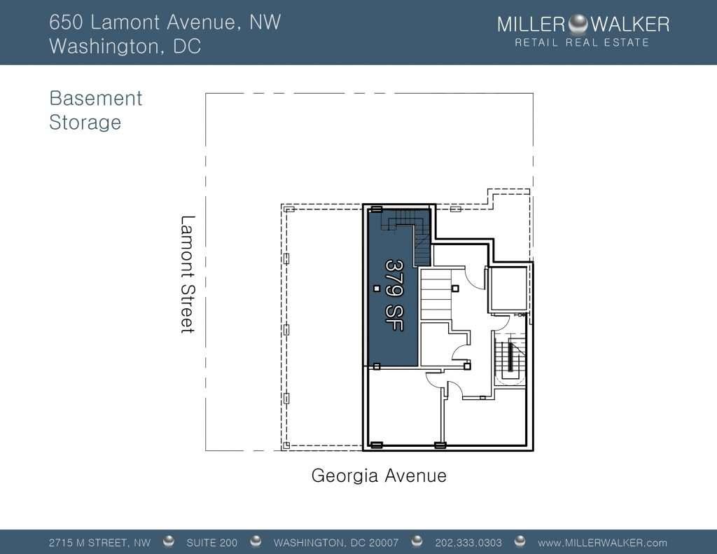 Retail Space for Lease DC - 650 Lamont Street, NE - Petworth DC restaurant space for lease Restaurant brokers dc floor plan 2