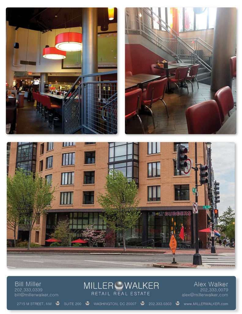 Retail Space for Lease DC - 1010 Massachusetts Avenue, NW restaurant space for lease - East End, Penn Quarter near Convention Center- Former Bolt Burger