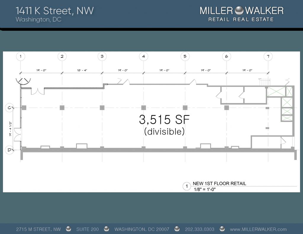 1411 K Street Floor Plan restaurant space for lease in dc
