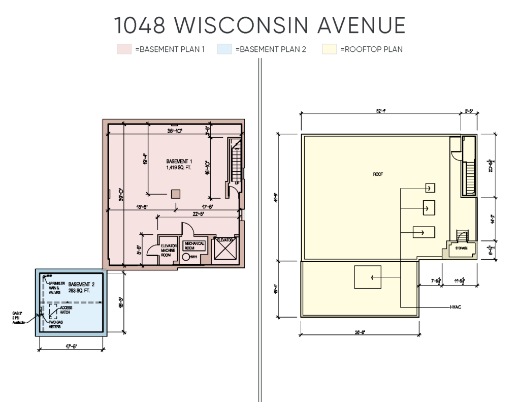 floor plan showing available square footage for lease at 1048 wisconsin avenue