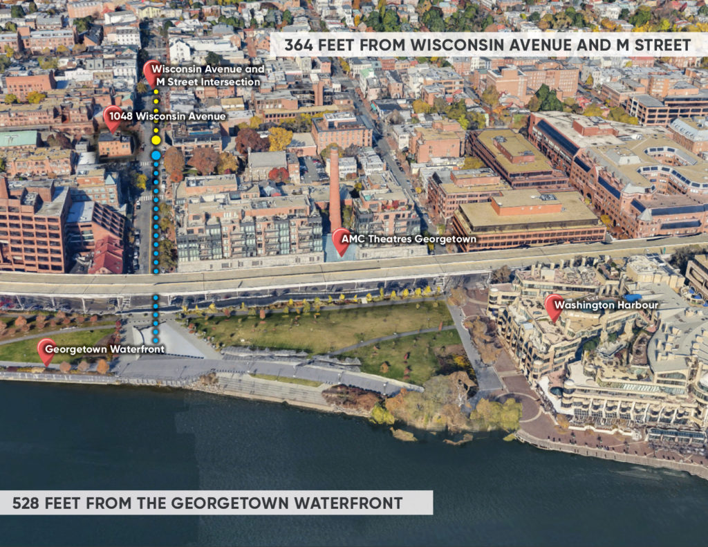a map showing the proximity between 1048 wisconsin avenue, a freestanding retail space for leasae, georgetown waterfront and washington harbor