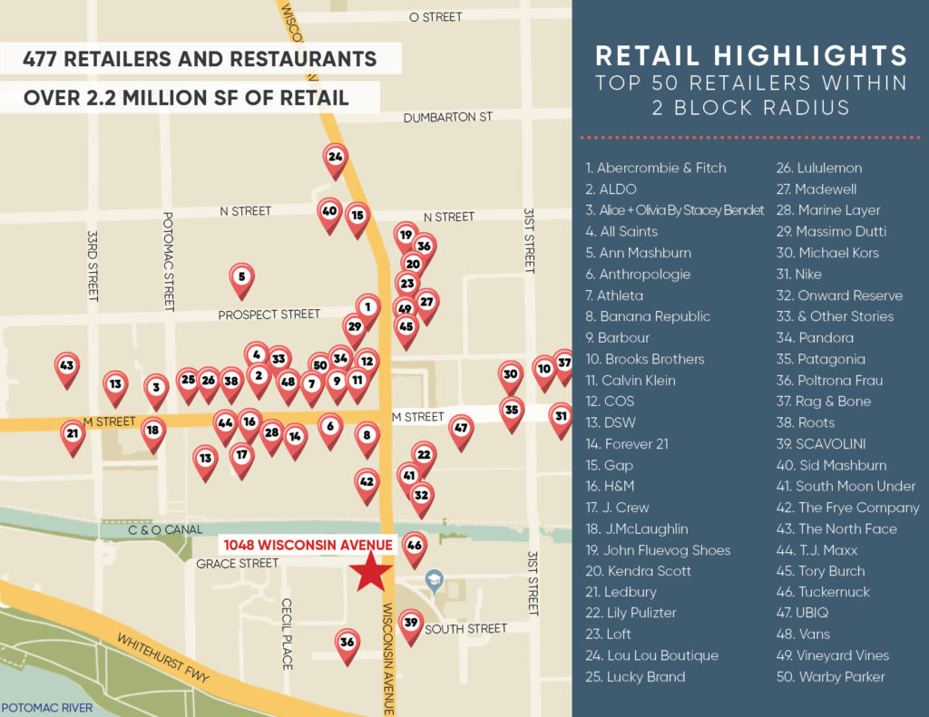 leasing map of the top 50 retailer near wisconsin avenue and m street georgetown dc