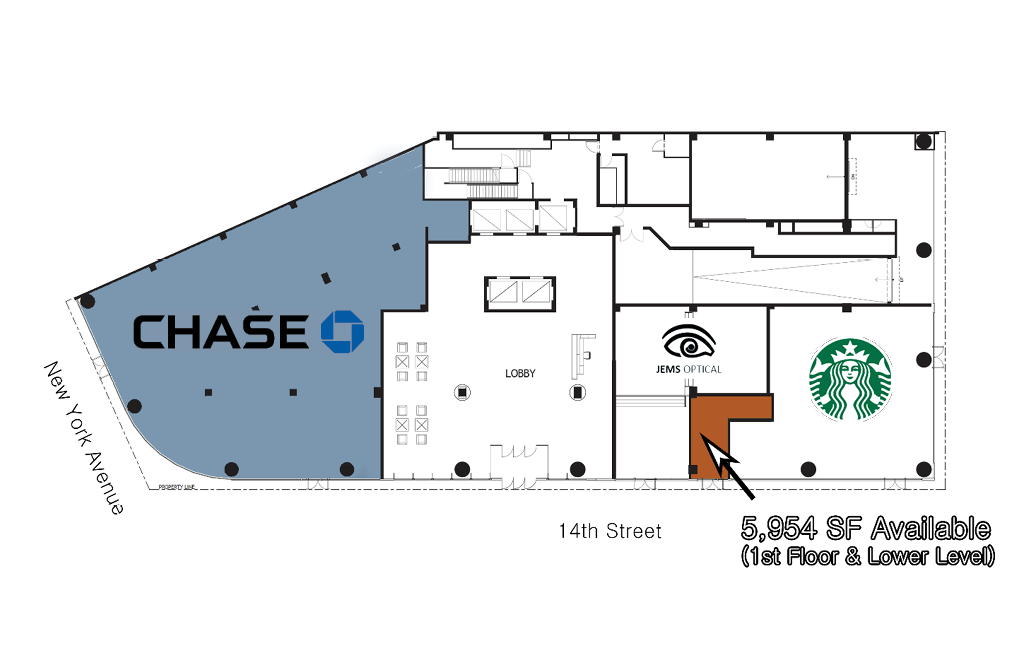 1401 New York Avenue Retail and fitness space for lease floor plan