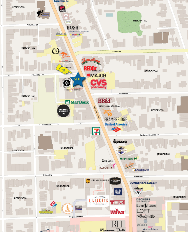 Retail Space for Lease DC - 1440 Wisconsin Avenue, NW - Dupont Circle restaurant space for lease retail map