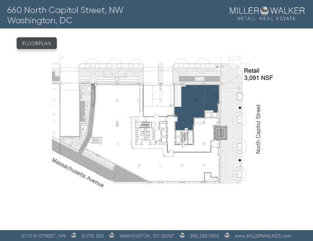 Retail Space for Lease DC - 660 North Capitol Street, NW - NoMa/Capitol Hill restaurant space for lease Retail brokers DC Floor Plan