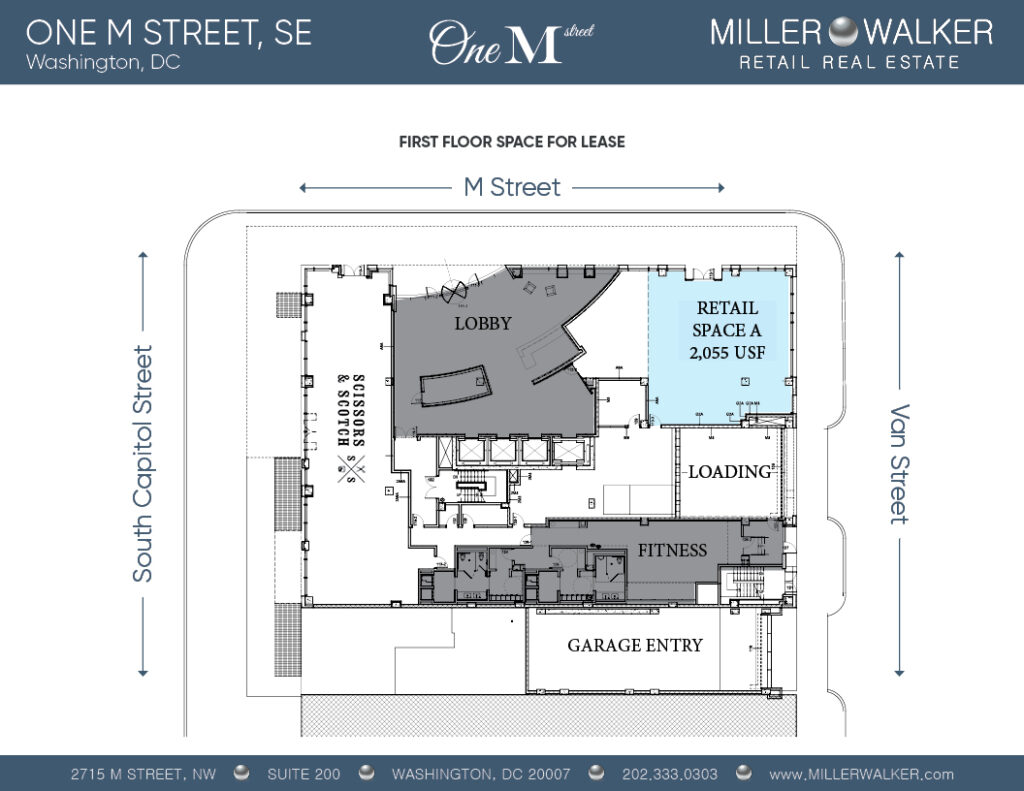 floor plans for one m street se retail space