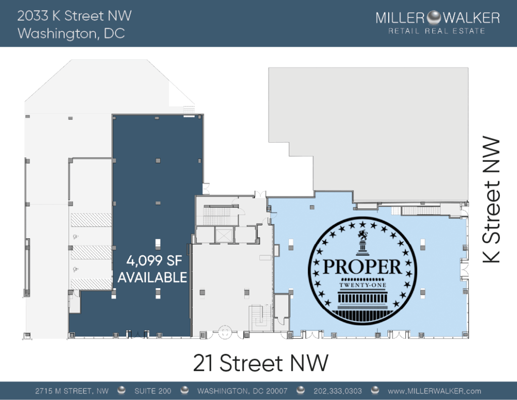 2033 K Street NW Restaurant and retail space for lease in DC - CBD/MIDTOWN | Miller Walker Retail real estate floor plan