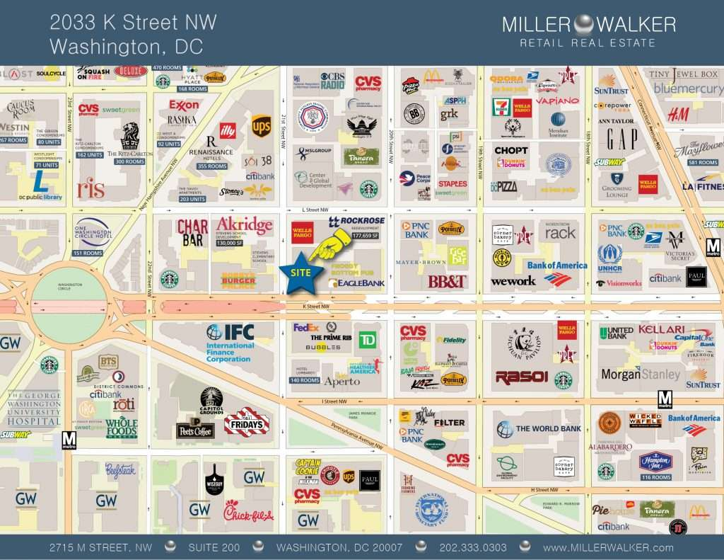 2033 K Street NW Restaurant and retail space for lease in DC - CBD/MIDTOWN | Miller Walker Retail real estate retail map