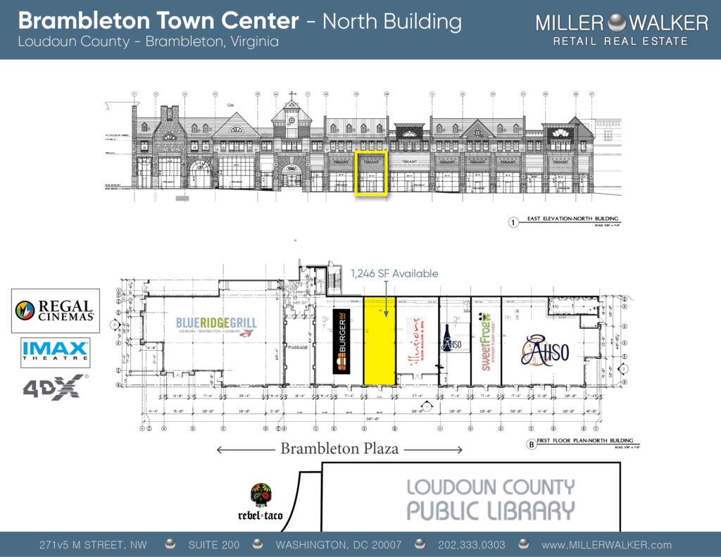 Brambleton Town Center Floor Plans North Building showing multiple retail restaurant spaces and properties for lease in Brambleton Virginia