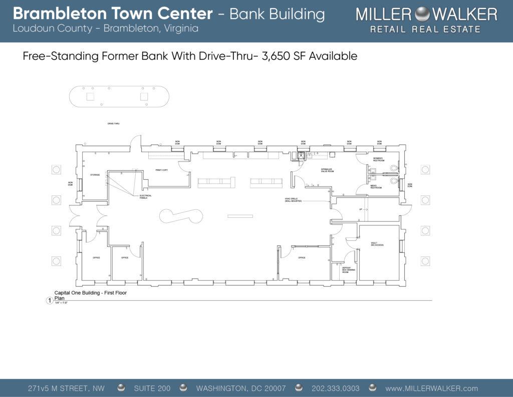 Freestanding Brambleton Town Center Floor Plans Bank Building showing multiple retail restaurant spaces and properties for lease in Brambleton Virginia