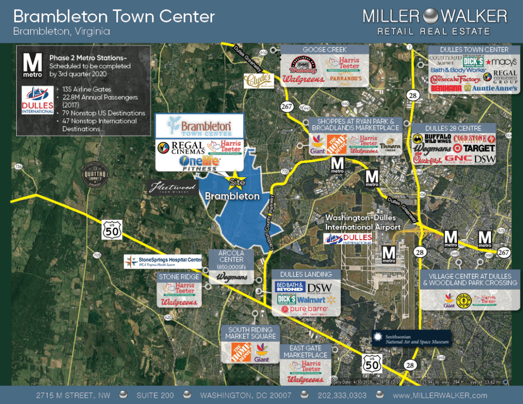 Brambleton Town Center Site Map Showing available restaurant and retail spaces for lease in virginia