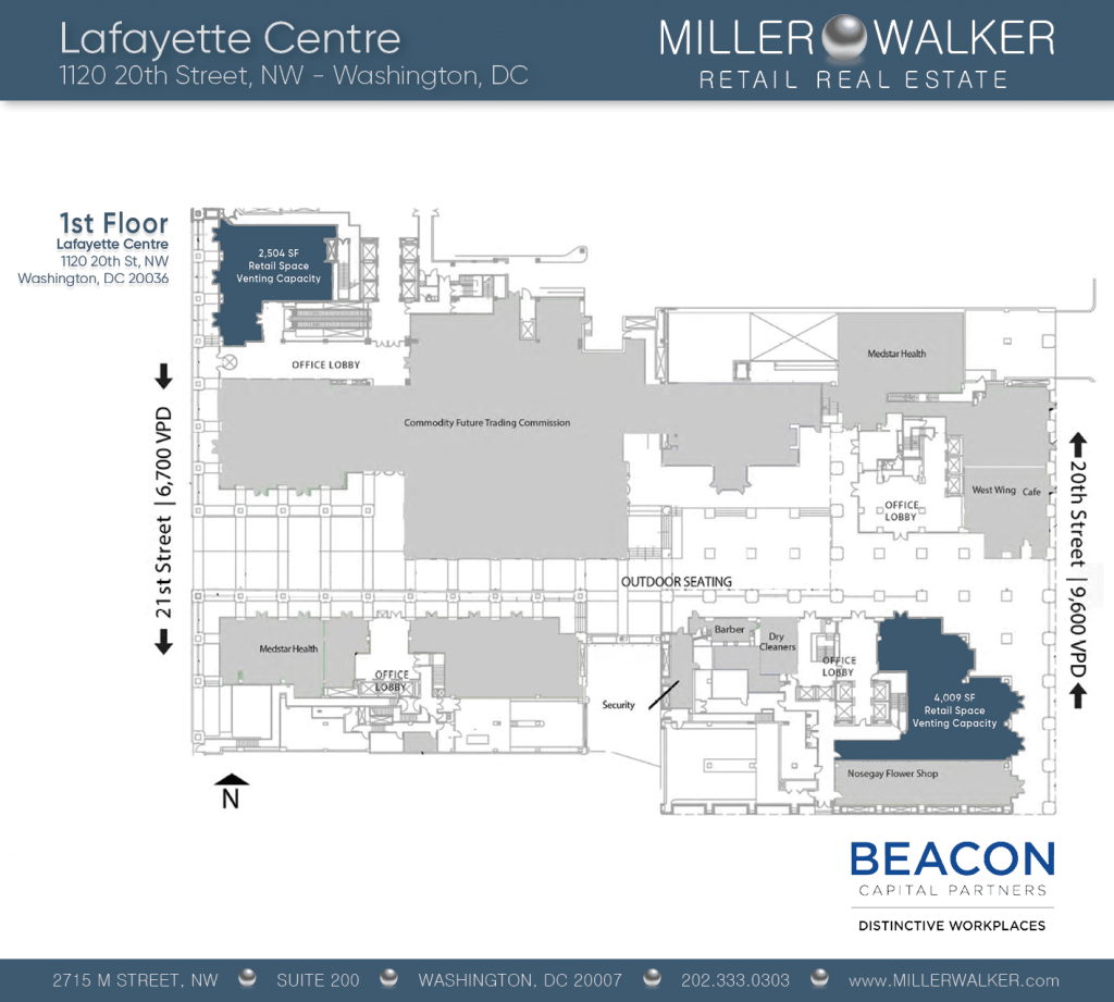 Retail Space for Lease DC - Lafayette Centre: 10020 20th Street NW - CBD/MIDTOWN restaurant space for lease Retail brokers DC Lafayette Centre - Floor Plans
