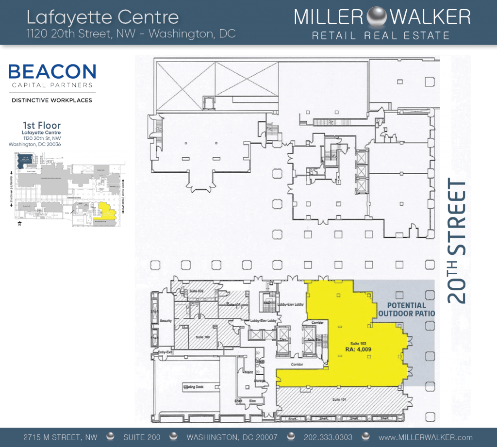 Retail Space for Lease DC - Lafayette Centre: 10020 20th Street NW - CBD/MIDTOWN restaurant space for lease Retail brokers DC Lafayette Centre - Floor Plans2