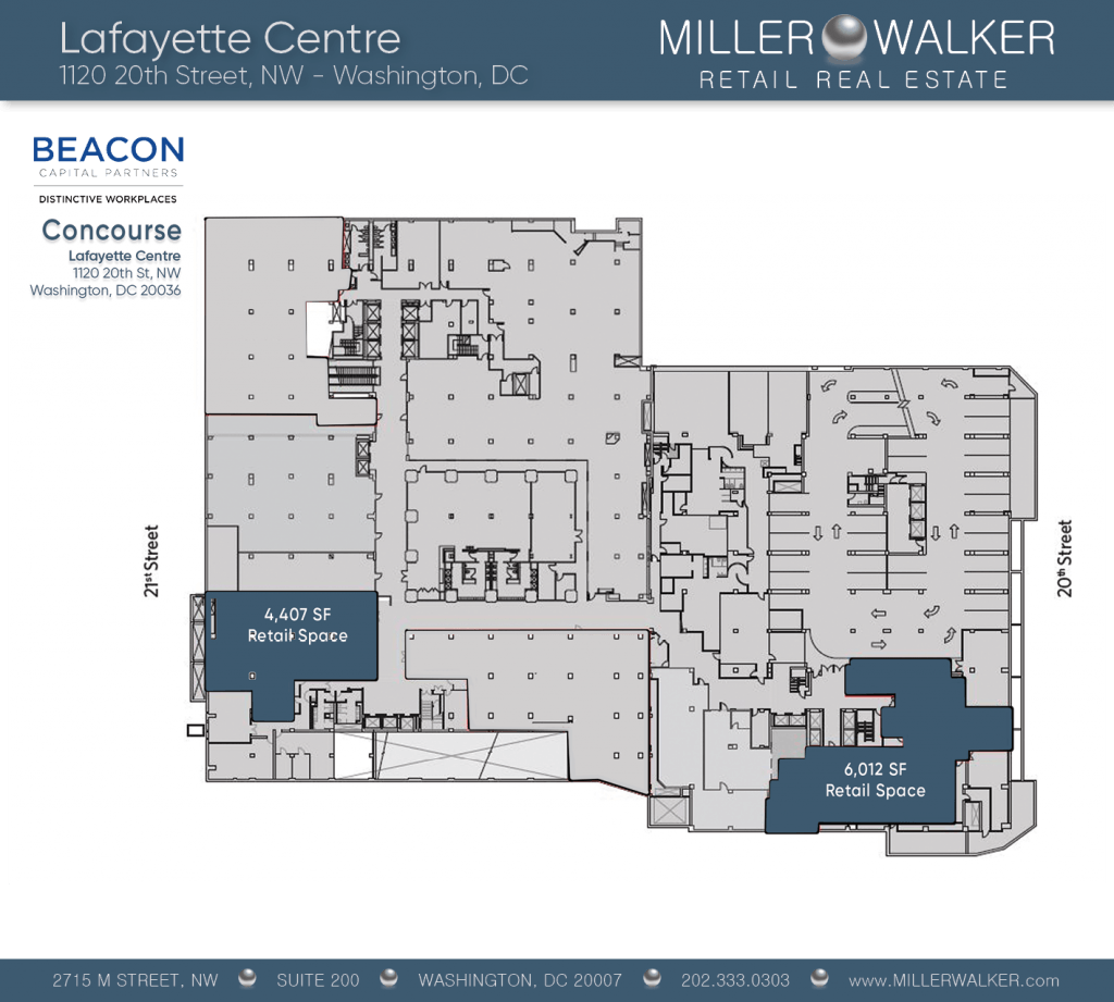 Retail Space for Lease DC - Lafayette Centre: 10020 20th Street NW - CBD/MIDTOWN restaurant space for lease Retail brokers DC floor plans