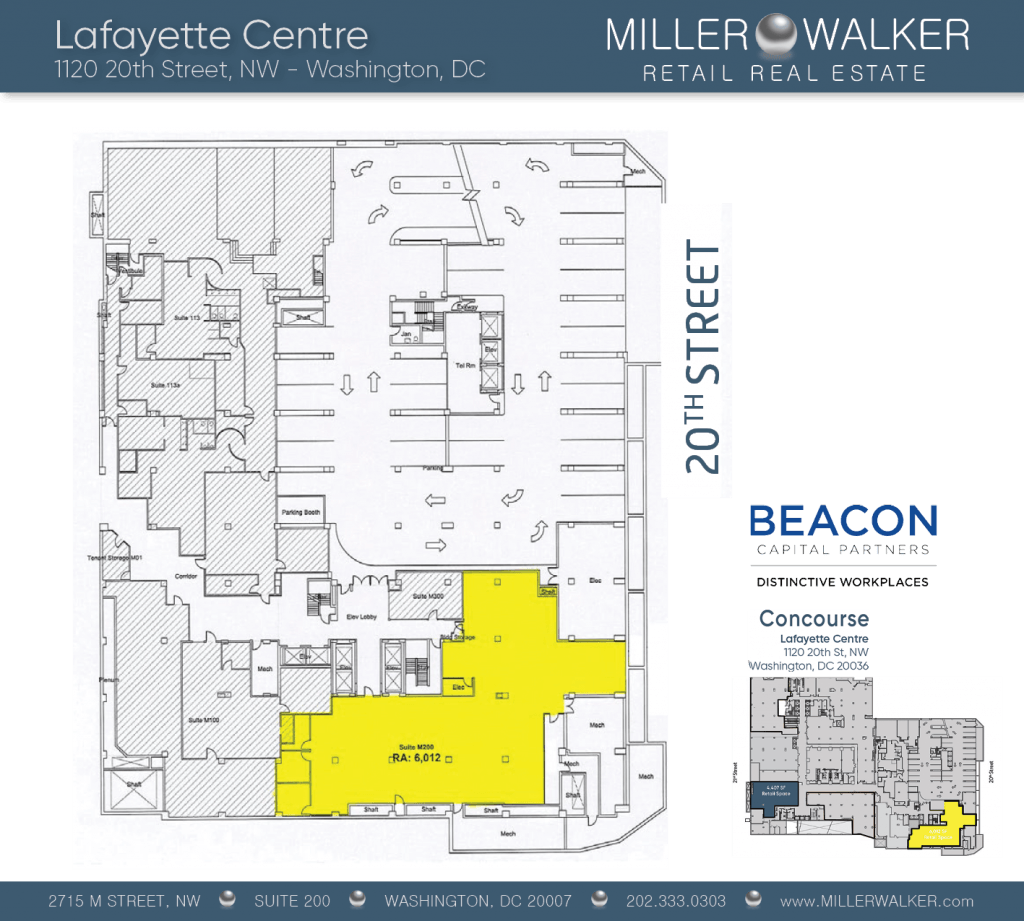 Retail Space for Lease DC - Lafayette Centre: 10020 20th Street NW - CBD/MIDTOWN restaurant space for lease Retail brokers DC Lafayette Centre - Floor Plans5