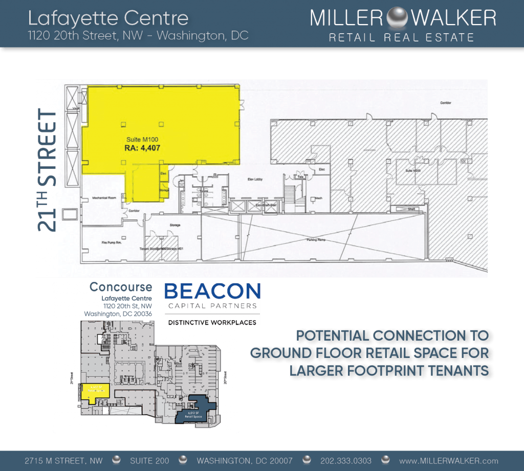 Retail Space for Lease DC - Lafayette Centre: 10020 20th Street NW - CBD/MIDTOWN restaurant space for lease Retail brokers DC Lafayette Centre - Floor Plans6