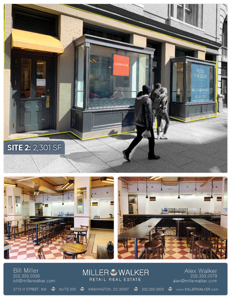 Retail Space for Lease DC - Tadich Grill, White Apron, Taylor Gourmet, - 1001 Pennsylvania Avenue, Washington DC White apron restaurant space for lease