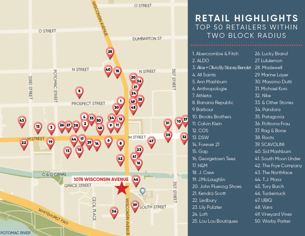 retail map of georgetown dc 1078 wisconsin