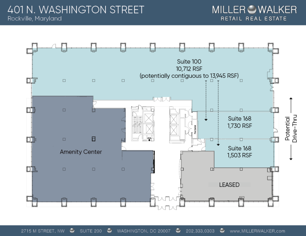 401 N Washington rockville maryland Retail space lease floor plans