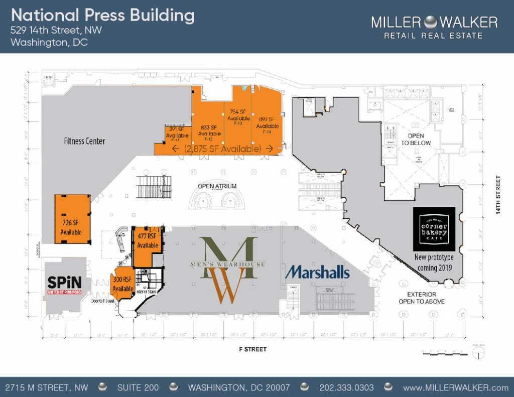National Press Building floor plans restaurant and retail listing for lease