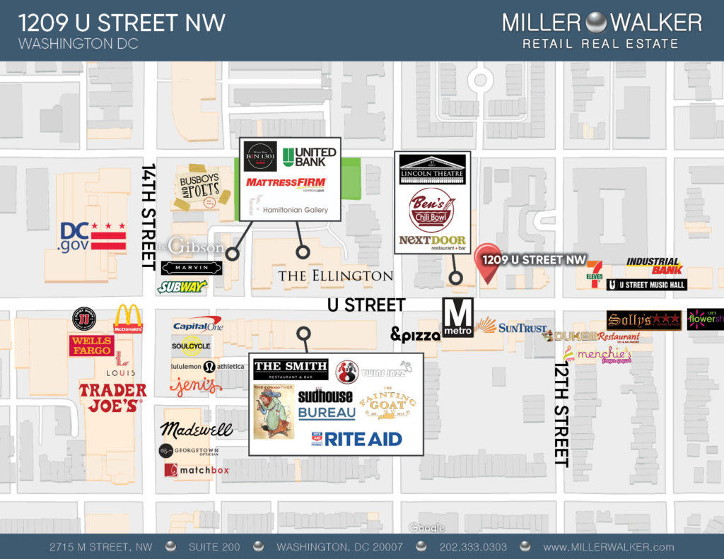 1209 U Street retail space for lease area map of U street corridor and 14th
