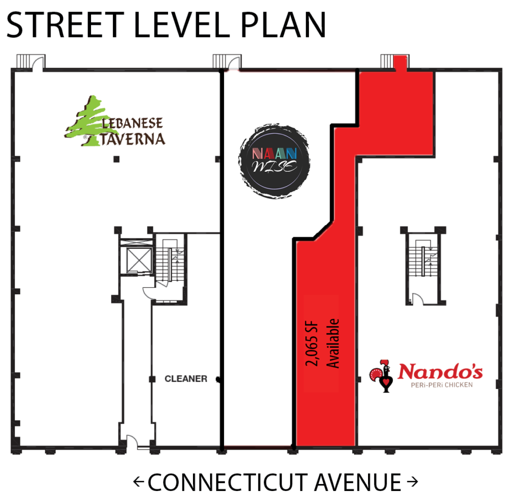 Retail Space for Lease DC - 2631 Connecticut Avenue, NW - Woodley Park restaurant and fitness space for lease floor plan