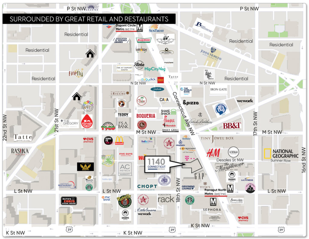 retail trade area map 1140 connecticut avenue golden triangle washington dc