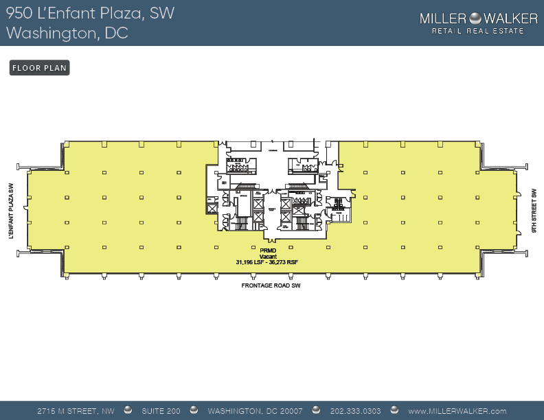 Floor plan for 950 L'Enfant Plaza SW New International Spy Museum retail and restaurant space for lease