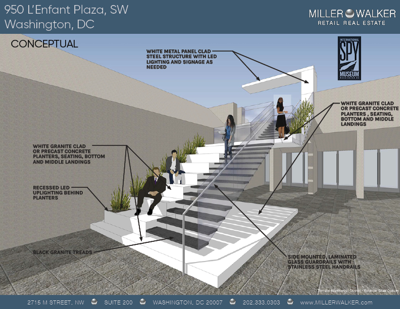 Conceptual staircase rendering 2 of 950 L'Enfant Plaza SW New International Spy Museum retail space for lease