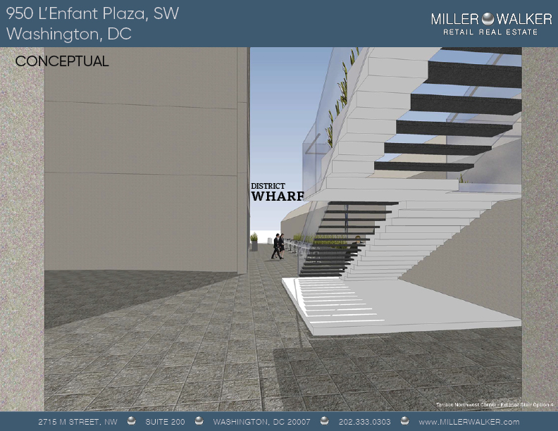 Conceptual staircase rendering 3 of 950 L'Enfant Plaza SW New International Spy Museum retail space for lease