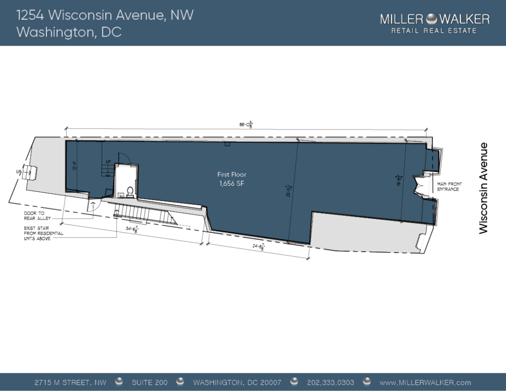 Retail Space for Lease DC - Georgetown, DC Storefront - 1254 Wisconsin Avenue, NW Washington DC Floor Plan