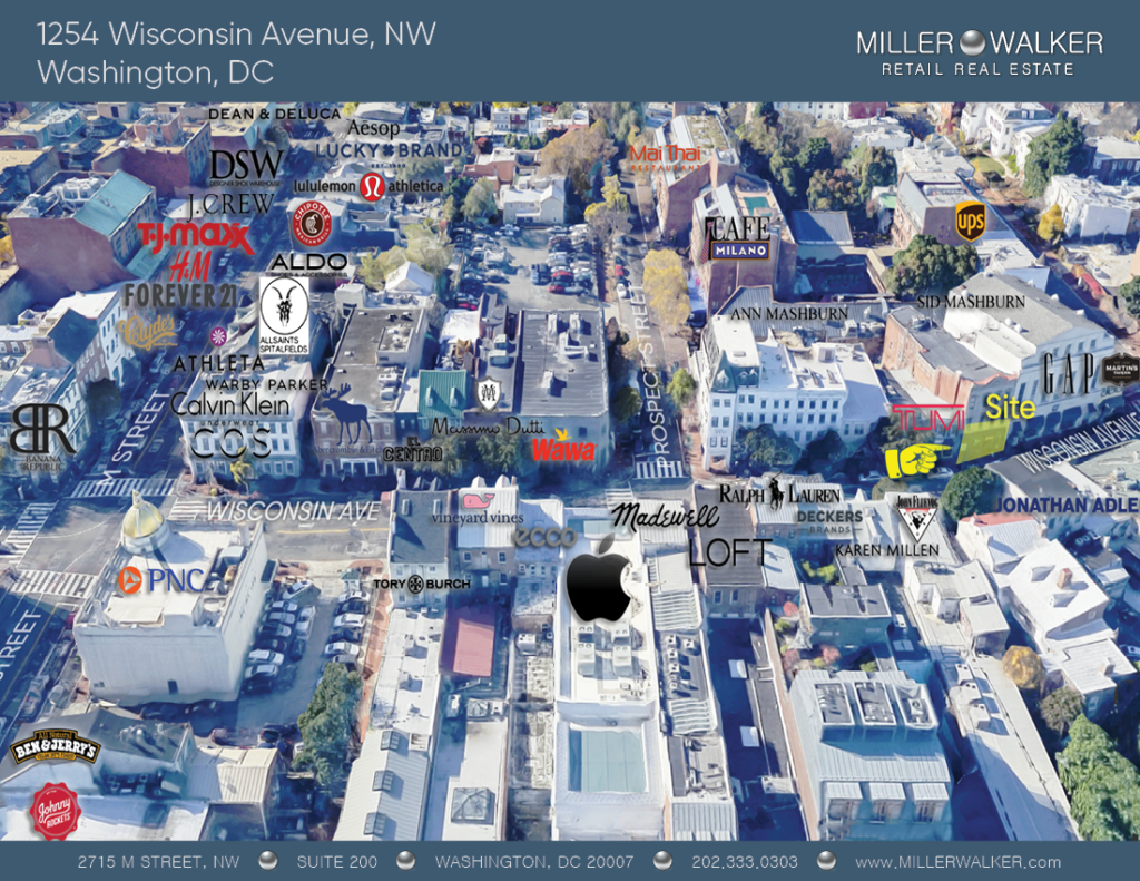 Retail Space for Lease DC - Georgetown, DC Storefront - 1254 Wisconsin Avenue, NW Washington DC 3D Retail Map