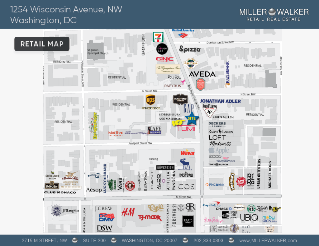 Retail Space for Lease DC - Georgetown, DC Storefront - 1254 Wisconsin Avenue, NW Washington DC Retail Map