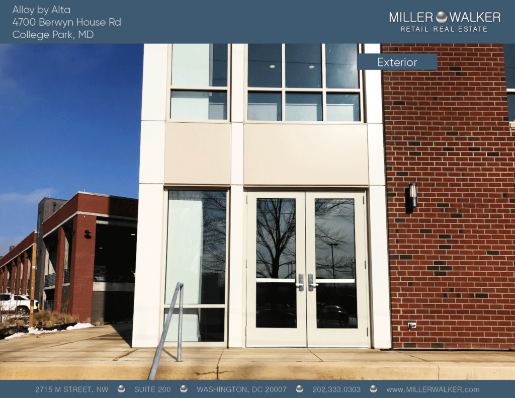 exterior shot of 4700 Berwyn House rd college park alloy by alta retail space for lease main pic dc broker maryland retail broker