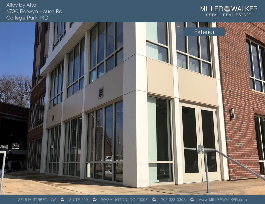 exterior 2 4700 Berwyn House rd college park alloy by alta retail space for lease main pic dc broker maryland retail broker