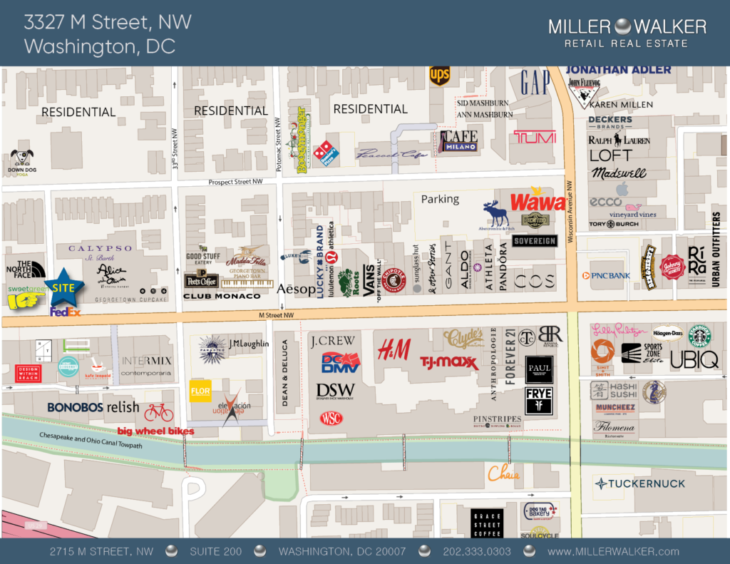 Office Space for Lease DC - Georgetown, DC Storefront - 3327 M Street, NW Washington DC Retail Map