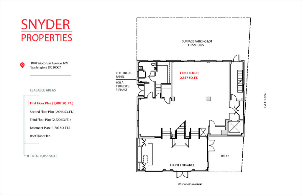 floor plan showing available square footage for lease at 1048 wisconsin avenue 1st floor
