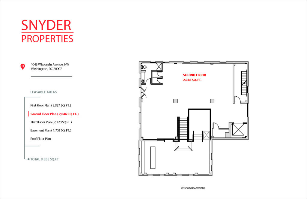 floor plan showing available square footage for lease at 1048 wisconsin avenue 2nd floor