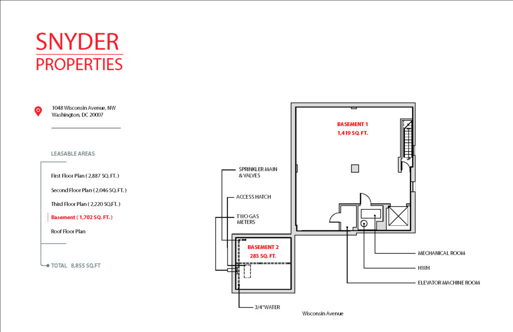 floor plan showing available square footage for lease at 1048 wisconsin avenue 4th floor