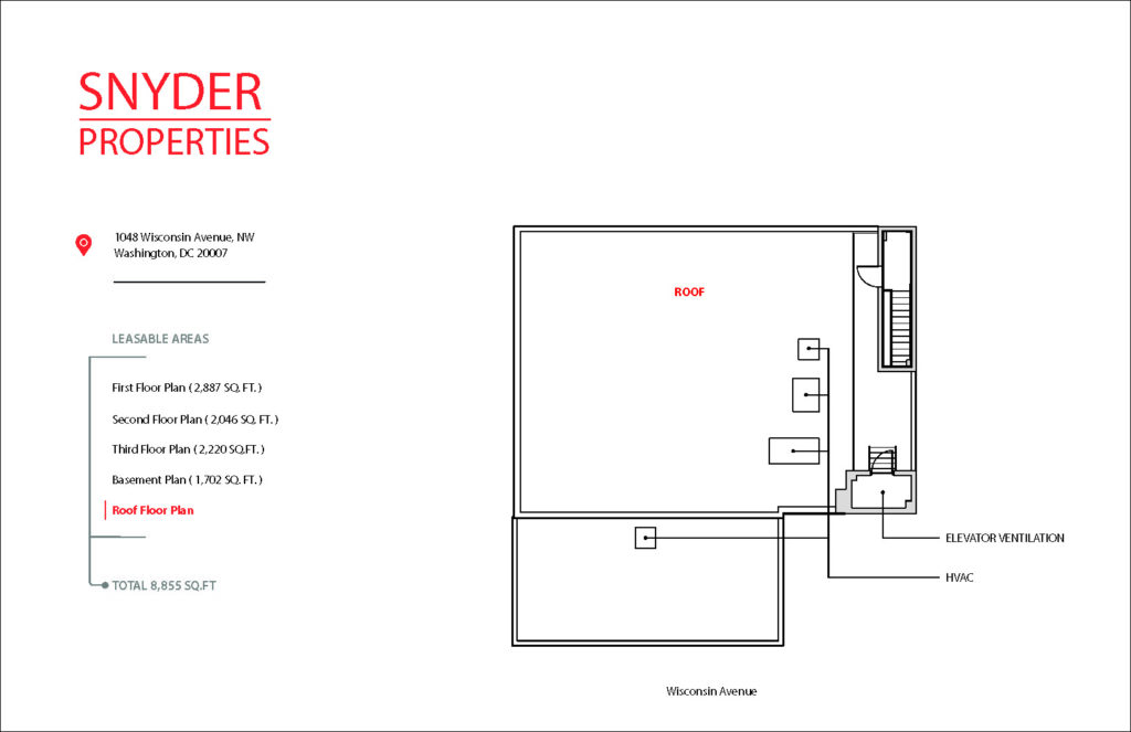 floor plan showing available square footage for lease at 1048 wisconsin avenue 4th floor roof